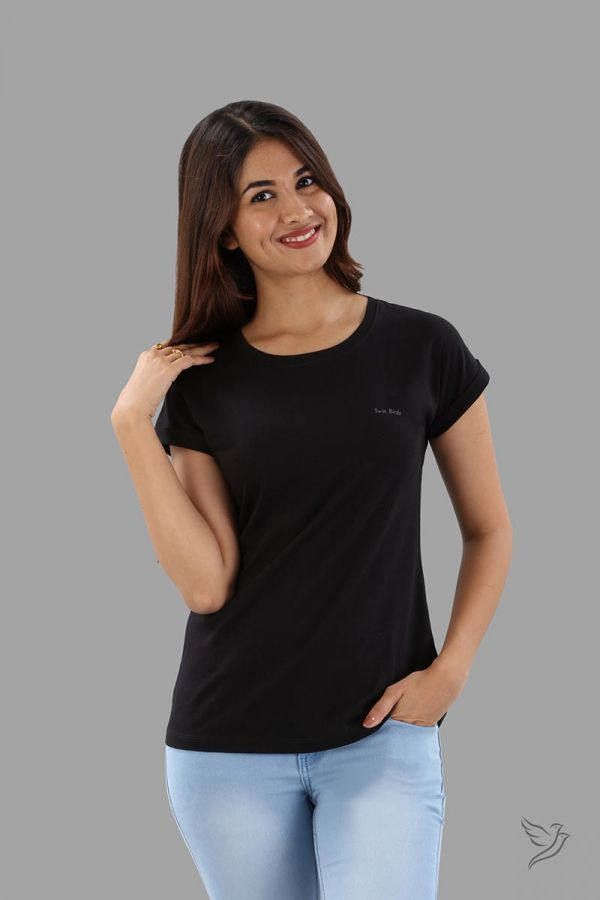 Twinbirds Carbon Black Women Relaxed Fit Branded Tee