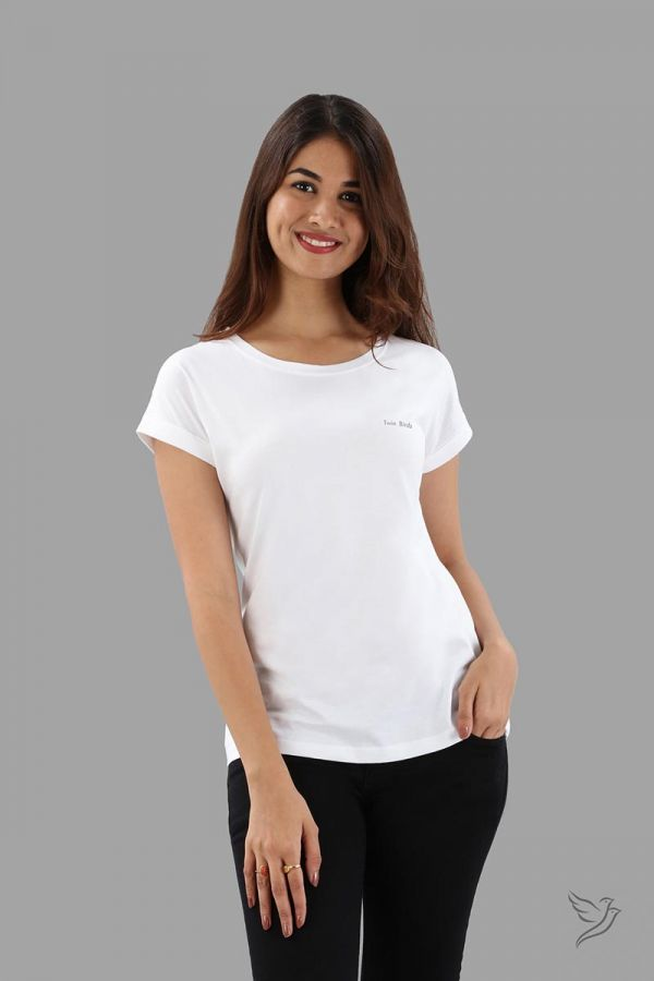 Twinbirds Pearl White Women Relaxed Fit Branded Tee