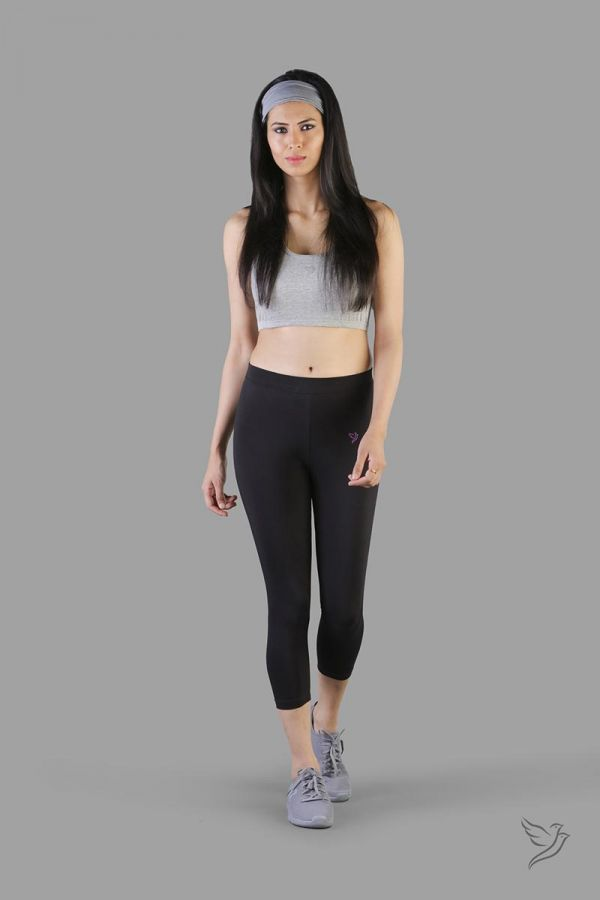Twinbirds Carbon Black women capri legging