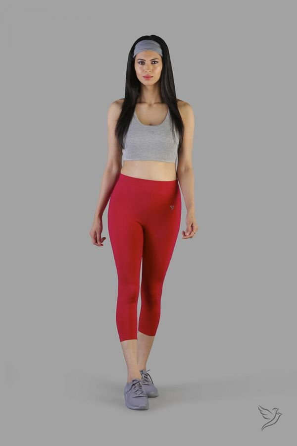 Twinbirds Lava Red women capri legging
