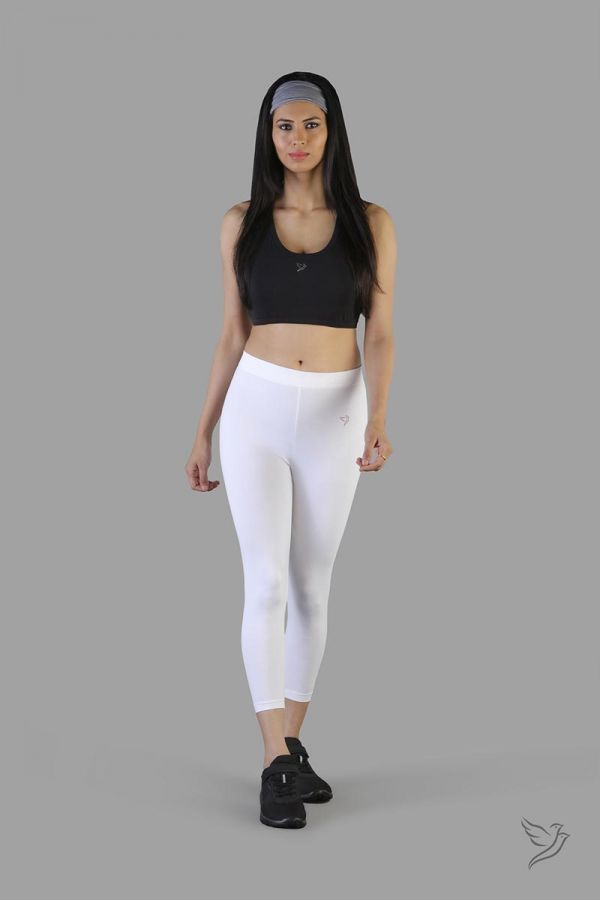 Twinbirds Pearl white women capri legging
