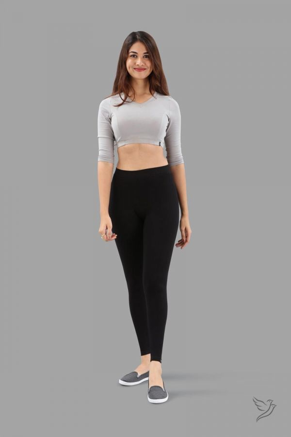 Twinbirds Black Plus Women Ankle Legging - Radiant Series