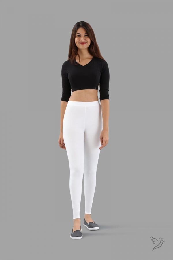 Twinbirds White Plus Women Ankle Legging - Radiant Series