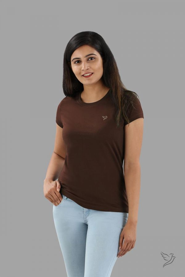 Twinbirds Dark Chocolate Women Slim Fit Signature Tee