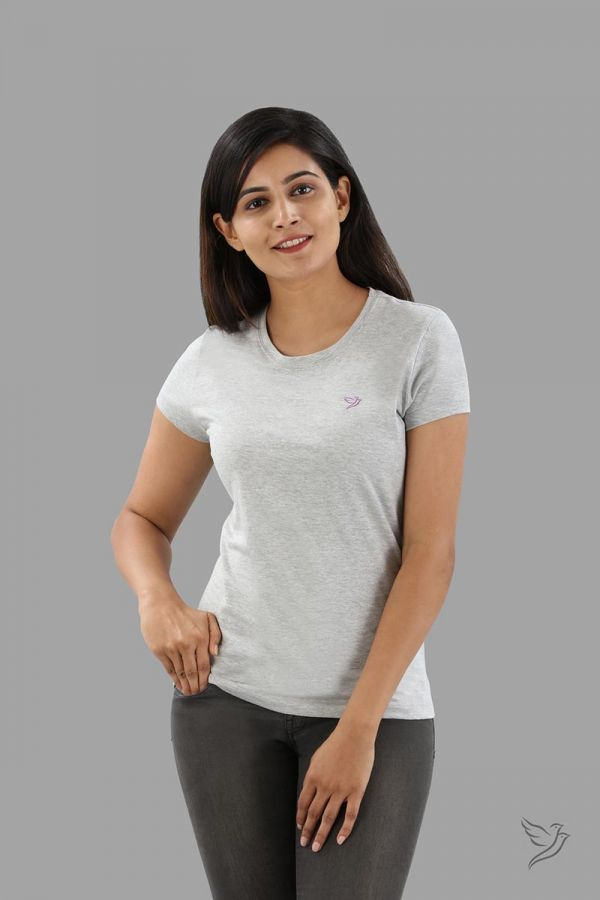 Twinbirds Grey Mix Women Slim Fit Signature Tee