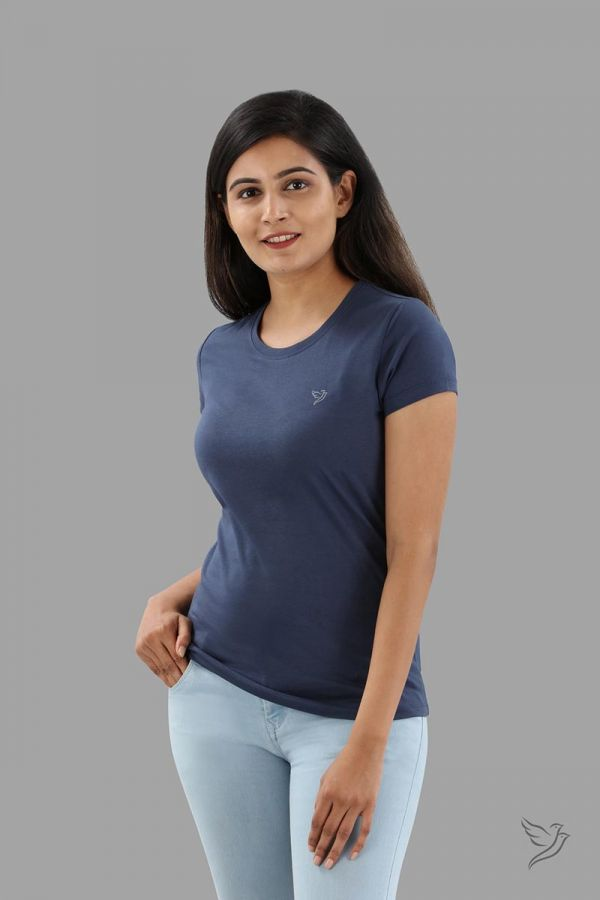 Twinbirds Indigo Denim Women Slim Fit Signature Tee