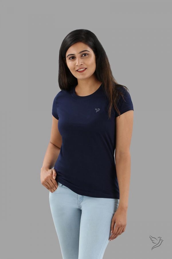 Twinbirds Navy Ribbon Women Slim Fit Signature Tee