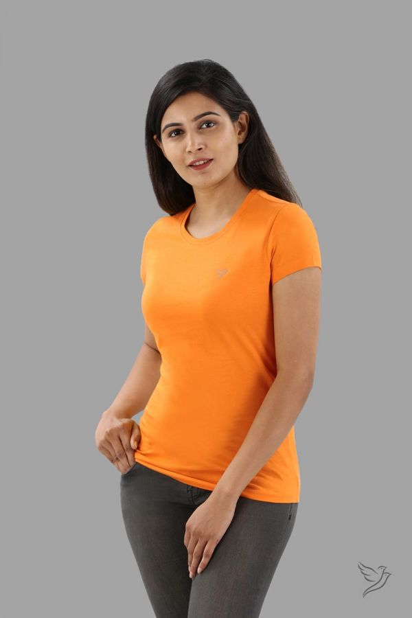 Twinbirds Orange Tango Women Slim Fit Signature Tee