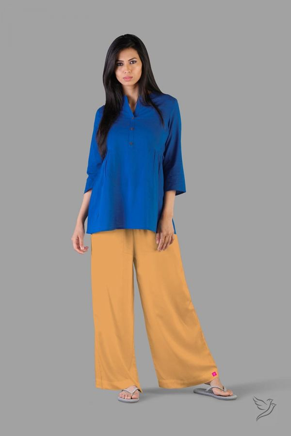 Twinbirds Caramel Custard Women Wide Leg Palazzo