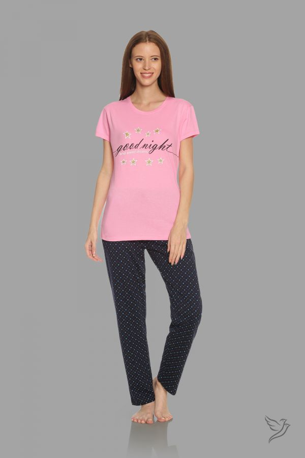 TwinBirds Womens Lt Pink and Navy Lounge Wear Pyjama Set