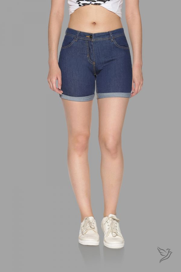 TwinBirds Dark Blue Women Denim Shorts