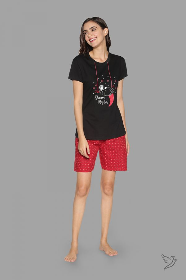 TwinBirds Womens Lounge Wear Black and Red Shorty Set