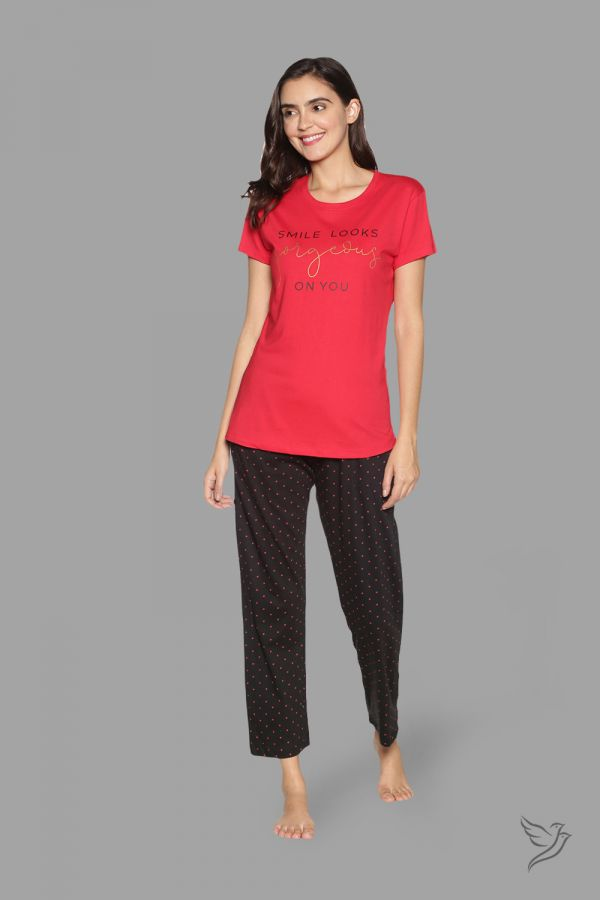 TwinBirds Womens Red and Black Lounge Wear Pyjama Set