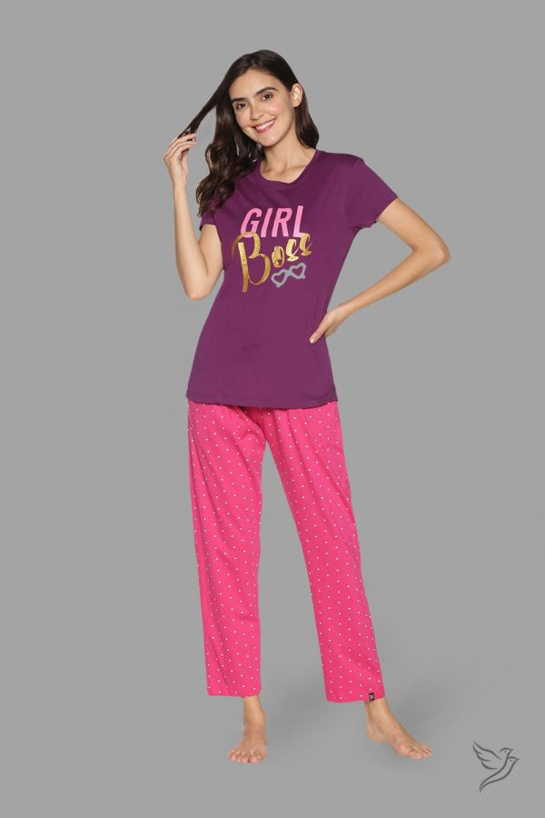 TwinBirds Womens Violet and Pink Lounge Wear Pyjama Set