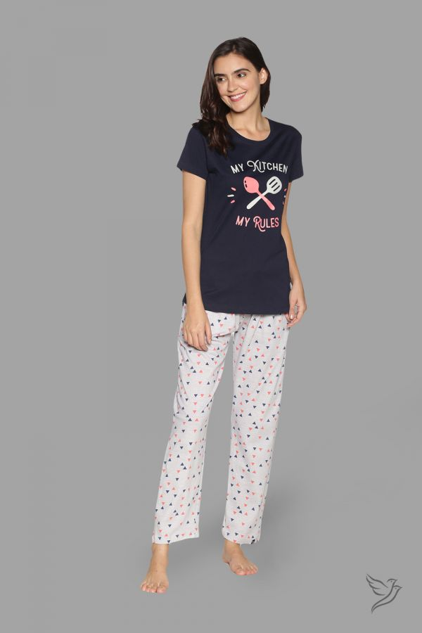 TwinBirds Womens Navy and Grey Lounge Wear Pyjama Set