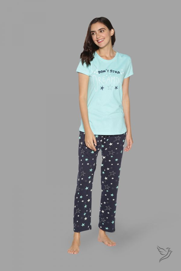 TwinBirds Womens Light Green and Navy Lounge Wear Pyjama Set