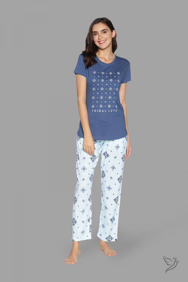 TwinBirds Womens Navy and White Lounge Wear Pyjama Set