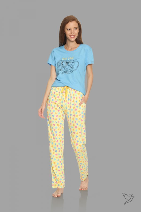 TwinBirds Womens Blue and Yellow Lounge Wear Pyjama Set