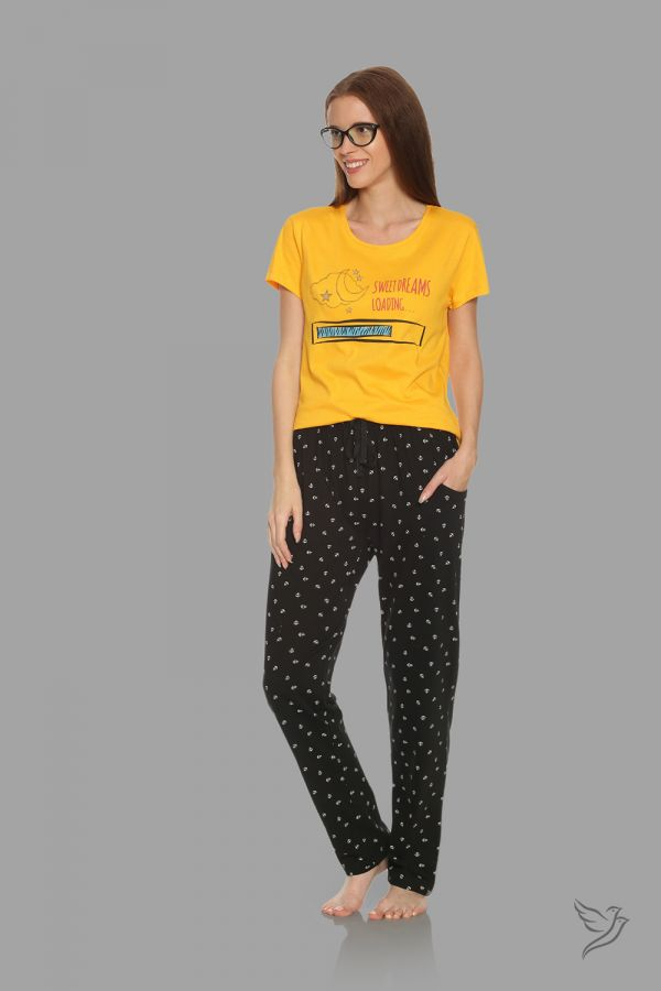 TwinBirds Womens Yellow and Black Lounge Wear Pyjama Set