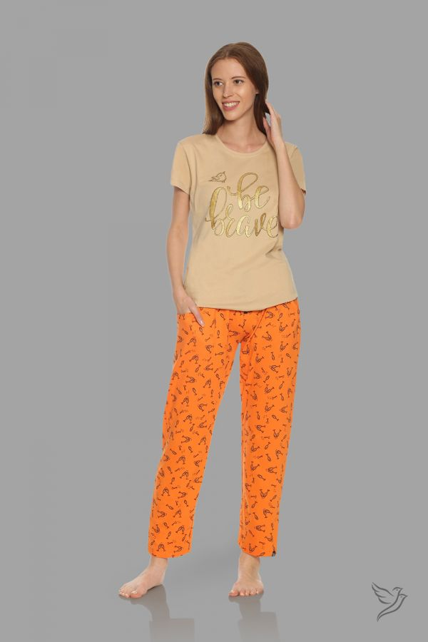 TwinBirds Womens Beige and Orange Lounge Wear Pyjama Set