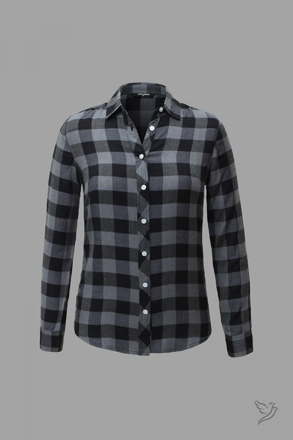 Twinbirds Black and Grey Checks Woven Full Sleeve Shirt