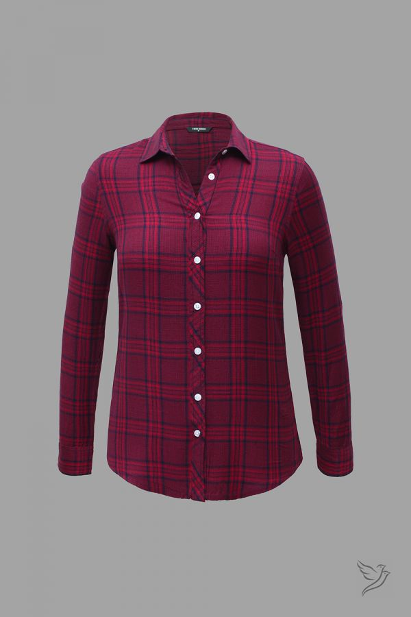Twinbirds Red and Black Checks Woven Full Sleeve Shirt
