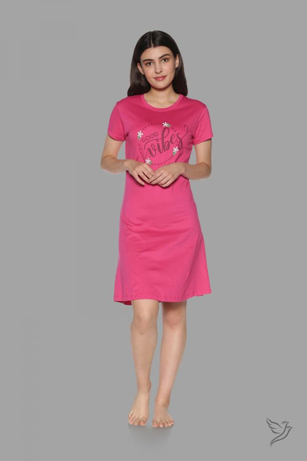 TwinBirds Womens Lounge Wear Pink Long Tee