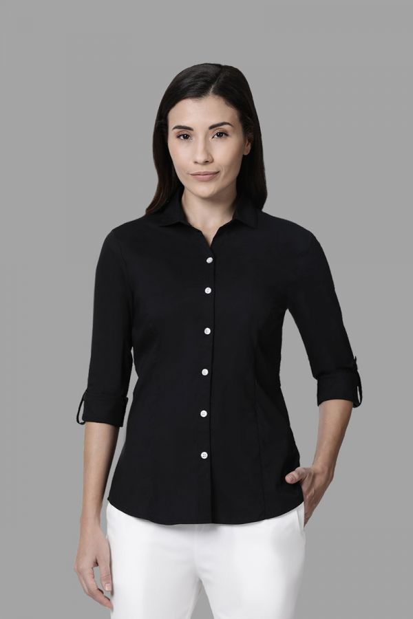 Twinbirds Black Women Womens Workwear Shirt