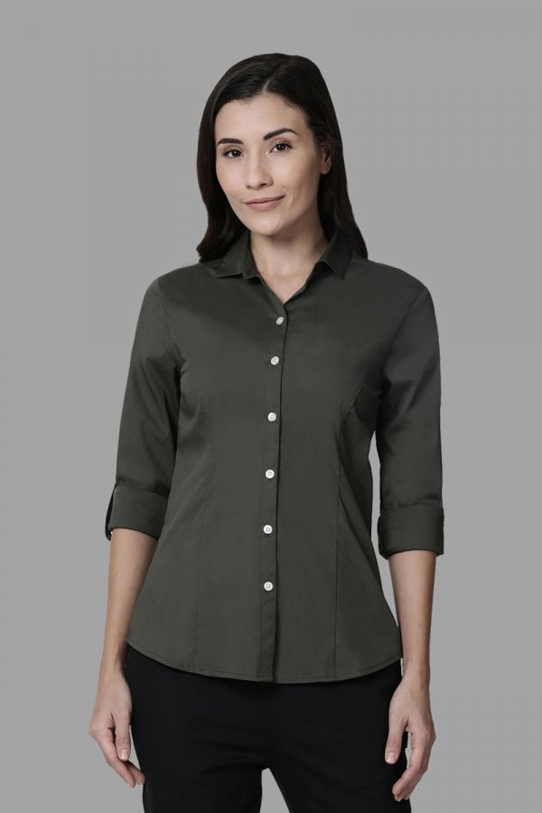 Twinbirds Olive Women Womens Workwear Shirt