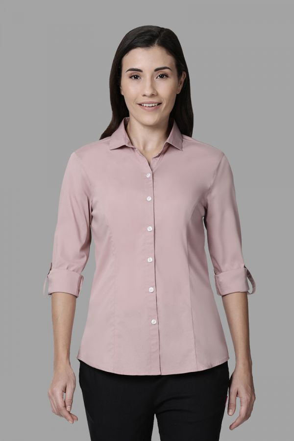 Twinbirds Washed Pink Women Womens Workwear Shirt