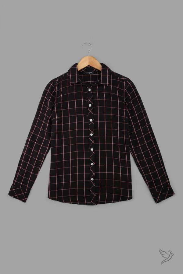 Twinbirds Black Woven Full Sleeve Shirt