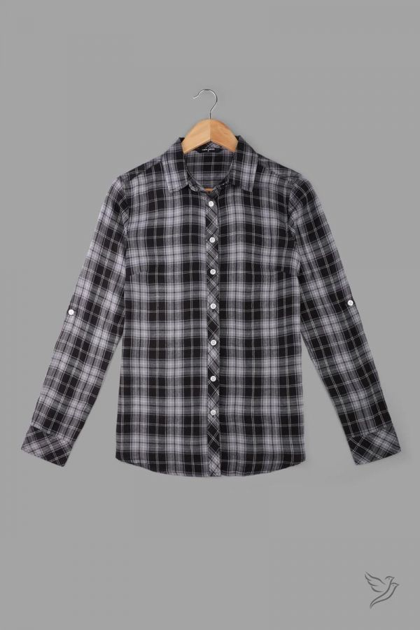 Twinbirds Black & Grey Woven Full Sleeve Shirt