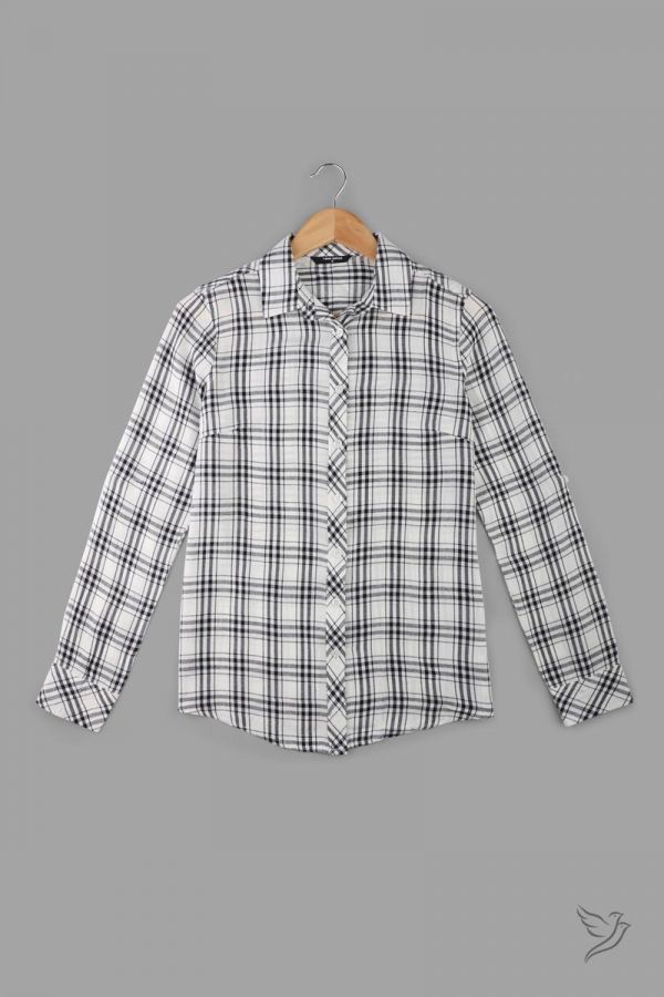 Twinbirds White & Black Woven Full Sleeve Shirt
