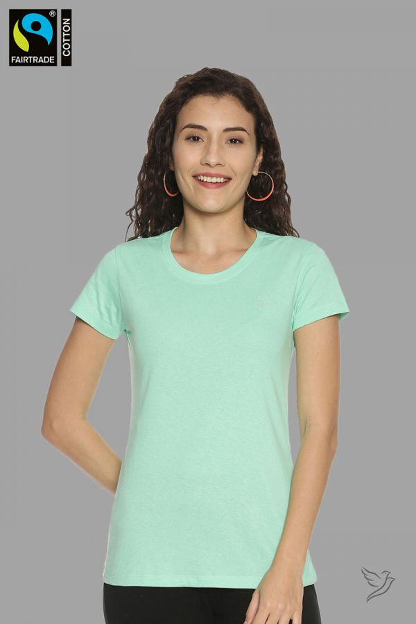 TwinBirds FAIRTRADE Pista Green Crew Neck T-Shirt